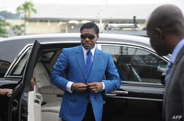 FILE -This file photo taken on June 24, 2013 shows Teodorin Obiang Nguema, the son of Equatorial Guinea's president, arriving at Malabo stadium for ceremonies to celebrate his 41st birthday.
