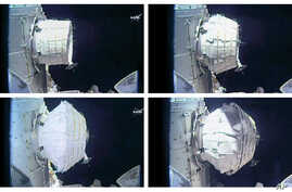 This combination of images provided by NASA shows the inflation of a new experimental room at the International Space Station, May 28, 2016.