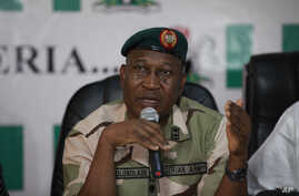 Brig. Gen. Chris Olukolade, Nigeria's top military spokesman, speaks during a press conference on the abducted school girls in Abuja, Nigeria, May 12, 2014.