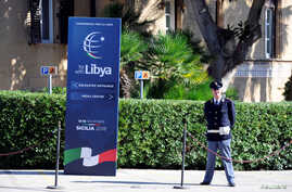 A policeman stands guard inside Villa Igiea, the venue of the international conference on Libya in Palermo, Italy, Nov. 12, 2018.