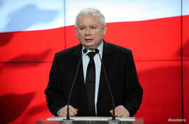 Jaroslaw Kaczynski, leader of Law and Justice (PiS) speaks during news conference in Warsaw, Feb. 28, 2017.