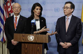 Japan's Ambassador Koro Bessho, left, U.S. Ambassador Nikki Haley, center, and South Korea's Ambassador Cho Tae-yul hold a joint news conference after consultations of the United Nations Security Council, March 8, 2017.