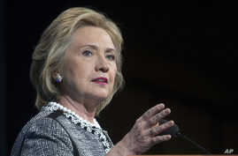 FILE - This May 14, 2014, file photo shows former Secretary of State Hillary Rodham Clinton speaking in Washington.