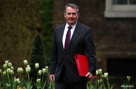 FILE - Britain's Secretary of State for International Trade, Liam Fox arrives for a Brexit subcommittee meeting at Downing Street in London, Britain, May 2, 2018.