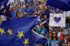 "Pro-Europe demonstrators protest during a ""March for Europe"" against the Brexit vote result earlier in the year, in London, Sept. 3, 2016."