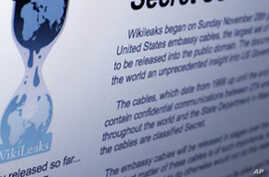 Internet homepage of Wikileaks, 01 Dec. 2010