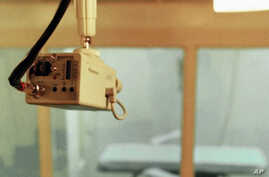 FILE - This file photo shows the Department of Correction death chamber in Varner, Arkaansas, with a closed-circuit television camera mounted nearby. A federal judge Saturday blocked Arkansas' plan to execute six inmates over the course of ten days,