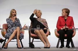 Ivanka Trump, daughter and adviser of U.S. President Donald Trump, International Monetary Fund Managing Director Christine Lagarde and German Chancellor Angela Merkel, from left, attend a panel at the W20 Summit in Berlin, April 25, 2017.