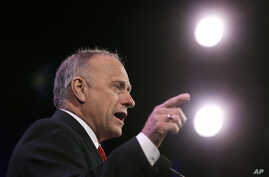 FILE - Rep. Steve King, R-Iowa, speaks during the Freedom Summit, Jan. 24, 2015, in Des Moines, Iowa.