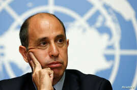 Special Rapporteur Tomas Ojea Quintana addresses human rights in North Korea during a news conference after his report to the Human Rights Council at the United Nations in Geneva, March 13, 2017.