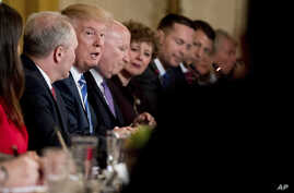 President Donald Trump speaks in the East Room of the White House in Washington, March 7, 2017, during a meeting with the Republican House whip team about the proposed health bill.