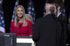 Ivanka Trump, daughter of Republican presidential candidate Donald Trump, talks with production crew during a walk through in preparation for her speech at the Republican National Convention in Cleveland, July 21, 2016.