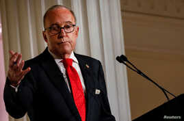 White House economic adviser Larry Kudlow speaks during a meeting of the Economic Club of New York in New York City, Sept. 17, 2018.
