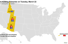 States Holding Primaries on Tuesday, March 22