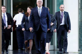 Treasurer of Australia Scott Morrison, arrives for a party meeting, became the country's new prime minister on Friday, in Canberra, Australia, Aug. 24, 2018.