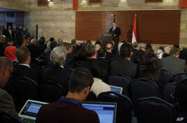 U.S. Secretary of State Mike Pompeo, gives a speech at the American University in Cairo, Egypt, Jan. 10, 2019.