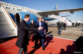 U.S. Secretary of State John Kerry arrives at Vnukovo international airport near Moscow, Russia, March 23, 2016.