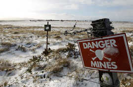 A mining field from the 1982 Falklands War between Britain and Argentina is seen near Stanley, Falkland Islands, June 10, 2012.