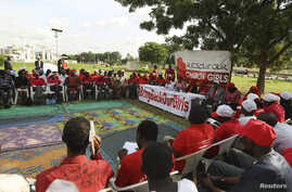 Members of the #BringBackOurGirls Abuja campaign group attend a sit-in protest, a day ahead of the 80th day of the abduction of over 200 schoolgirls, at the Unity fountain in Abuja, Nigeria, July 2, 2014.