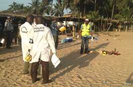 Heavily armed gunmen opened fire Sunday at a popular Ivory Coast beach resort in Grand-Bassam, March 13, 2016. There was no official report on casualties, but witnesses told VOA they saw between five and 10 shooting victims.