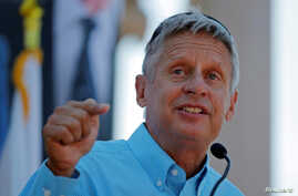Libertarian presidential candidate Gary Johnson speaks at a campaign rally in Boston, Massachusetts, Aug. 27, 2016.