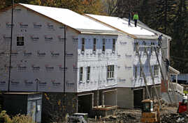 Construction on new homes is underway in Canonsburg, Pennsylvania, Nov. 10, 2016.