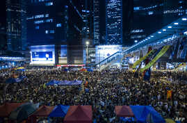 Pro democracy protesters gather at Admiralty district during the rally after the government called off the talks with students on Oct. 10, 2014 in Hong Kong.