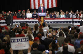 FILE - Republican presidential candidate Donald Trump speaks during a campaign stop in North Charleston, S.C., Feb. 19, 2016.