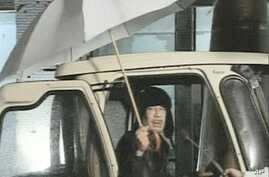 Image taken from video footage shows Libyan leader Moammar Gadhafi speaking on state television, February 22, 2011