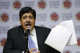 Luis Bedoya, a former FIFA executive committee member from Colombia - seen in this 2015 filke photo - and Sergio Jadue of Chile were found guilty of wrongdoing including bribery and conflicts of interest, May 6, 2016.