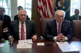 President Donald Trump, accompanied by Secretary of State Rex Tillerson, White House Senior Adviser Steve Bannon, left, and National Security Adviser H.R. McMaster, right, participates in a Cabinet meeting, June 12, 2017, in the Cabinet Room of the W