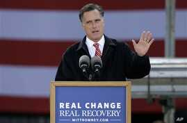 Republican presidential candidate, former Massachusetts Governor Mitt Romney speaks about the economy during a campaign stop at Kinzler Construction Services, in Ames, Iowa, October 26, 2012.