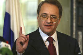 Russia's deputy Foreign Minister Mikhail Bogdanov, speaks with journalists after his meeting with the Lebanese Foreign Minister Gebran Bassil in Beirut, Dec. 5, 2014. Concerning President-elect Donald Trump, Bogdanov told reporters in Russia, Thursda