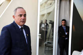 Israel Energy Minister Yuval Steinitz, speaks during an interview with The Associated Press, in Cairo, Egypt, Monday, Jan. 14, 2019. Egypt has hosted its first ever regional gas forum, with several government delegations attending including the Israe