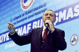 Turkey's President Recep Tayyip Erdogan speaks about the upcoming 16 April referendum during a meeting with his supporters in Istanbul, March 19, 2017.