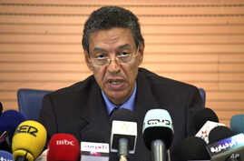 Moroccan Interior Minister Taieb Cherkaoui speaks during a news conference in Rabat, following last month's deadly cafe bombing in Marrakesh, May 6, 2011