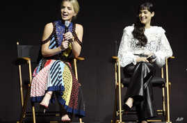 "Annabelle Wallis (left) and Sofia Boutella, cast members in the upcoming film ""The Mummy,"" discuss the film during the Universal Pictures presentation at CinemaCon 2017 at Caesars Palace, March 29, 2017, in Las Vegas."