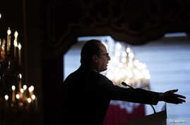 French President Francois Hollande delivers a speech during the annual Conference of Ambassadors at the Elysee Palace in Paris Aug. 28, 2014.