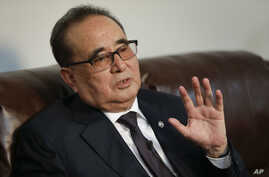 North Korea's Foreign Minister Ri Su Yong answers questions during an interview in New York, April 23, 2016.
