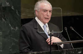 Michel Temer, president of Brazil, speaks during the 71st session of the U.N. General Assembly at U.N. headquarters, Sept. 20, 2016.