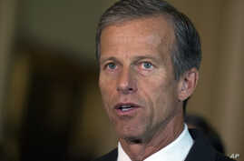 Sen. John Thune, R-S.D. addresses the media after a policy luncheon on Capitol Hill in Washington, July 21, 2015.