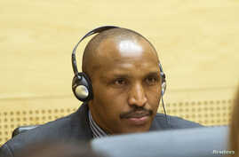 Congolese militia leader Bosco Ntaganda appears at the International Criminal Court charged with war crimes and crimes against humanity in a hearing in The Hague, Feb. 10, 2014.