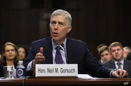 Supreme Court Justice nominee Neil Gorsuch speaks on Capitol Hill in Washington, March 21, 2017, during his confirmation hearing before the Senate Judiciary Committee.