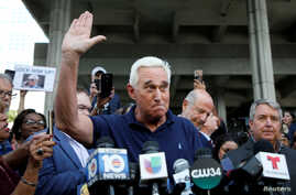 Roger Stone speaks after his appearance at Federal Court in Fort Lauderdale, Fla., Jan. 25, 2019.