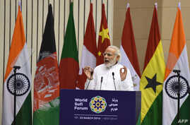Indian Prime Minister Narendra Modi delivers his speech during the World Sufi Forum in New Delhi, March 17, 2016.