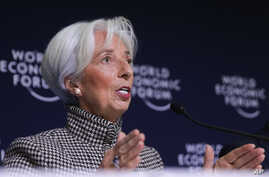 International Monetary Fund Managing Director Christine Lagarde briefs the media during a news conference at the annual meeting of the World Economic Forum, WEF, in Davos, Jan. 21, 2019.