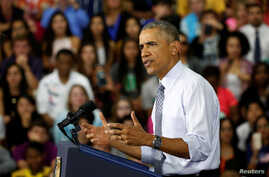 U.S. President Barack Obama speaks about the economy during a visit to Concord Community High School in Elkhart, Indiana, June 1, 2016.