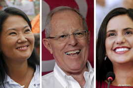 A combination picture of the three Peruvian presidential candidates (L-R)  Keiko Fujimori, Pedro Pablo Kuczynski and Veronika Mendoza ahead of the April 10 presidential election.