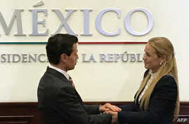 Handout picture released by Lilian Tintori's press office showing Mexican President Enrique Pena Nieto (L) with Lilian Tintori, wife of imprisoned Venezuelan leader Leopoldo Lopez, during a private meeting in Mexico City, April 6, 2017.