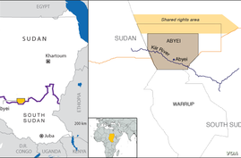 map of Abyei, includes Kiir River